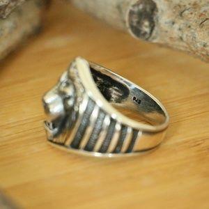 Grand Bazaar Jewelers Accessories - 925 Sterling Silver Lion Head Men's Ring Animal